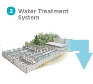Trust the Tap Source Water protection graphic of a water treatment system
