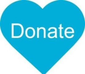Donate button in the shape of a heart