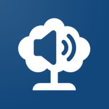A blue background with a white tree and a blue speaker icon.