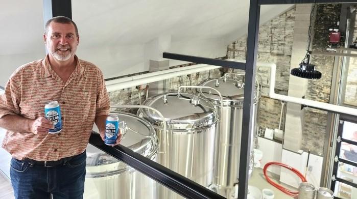 Kawartha Conservation Chair and Kawartha Lakes Mayor Andy Letham promoting the Kawartha Summer Ale partnership at Fenelon Falls Brewing Co.